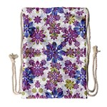 Stylized Floral Ornate Pattern Drawstring Bag (Large) Front