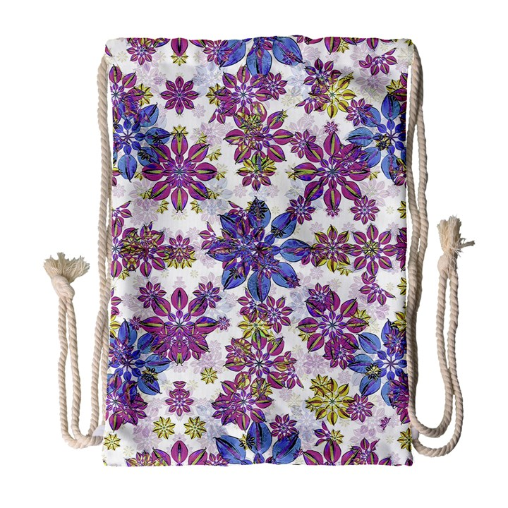 Stylized Floral Ornate Pattern Drawstring Bag (Large)