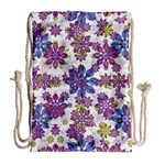 Stylized Floral Ornate Pattern Drawstring Bag (Large) Back