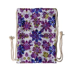 Stylized Floral Ornate Pattern Drawstring Bag (small)