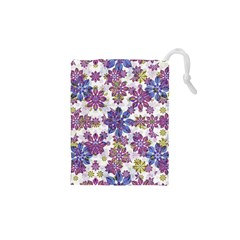 Stylized Floral Ornate Pattern Drawstring Pouches (xs)