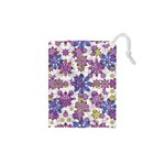 Stylized Floral Ornate Pattern Drawstring Pouches (XS)  Front