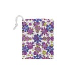 Stylized Floral Ornate Pattern Drawstring Pouches (XS)  Back