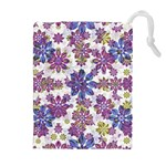 Stylized Floral Ornate Pattern Drawstring Pouches (Extra Large) Front