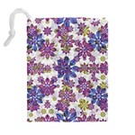 Stylized Floral Ornate Pattern Drawstring Pouches (Extra Large) Back