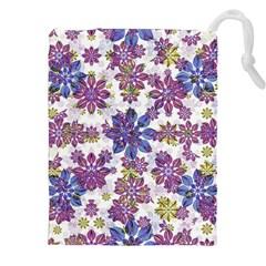 Stylized Floral Ornate Pattern Drawstring Pouches (XXL)
