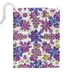 Stylized Floral Ornate Pattern Drawstring Pouches (XXL) Back