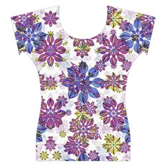 Stylized Floral Ornate Women s Cap Sleeve Top