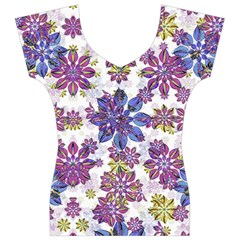 Stylized Floral Ornate Women s V-Neck Cap Sleeve Top