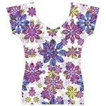 Stylized Floral Ornate Women s V-Neck Cap Sleeve Top Front