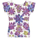 Stylized Floral Ornate Women s V-Neck Cap Sleeve Top Back