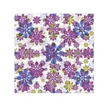 Stylized Floral Ornate Small Satin Scarf (Square) Front