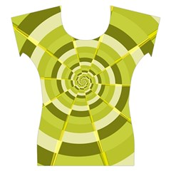 Crazy Dart Green Gold Spiral Women s Cap Sleeve Top