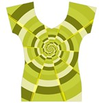 Crazy Dart Green Gold Spiral Women s V-Neck Cap Sleeve Top Front