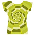 Crazy Dart Green Gold Spiral Women s V-Neck Cap Sleeve Top Back