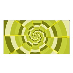 Crazy Dart Green Gold Spiral Satin Shawl