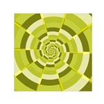 Crazy Dart Green Gold Spiral Small Satin Scarf (Square) Front