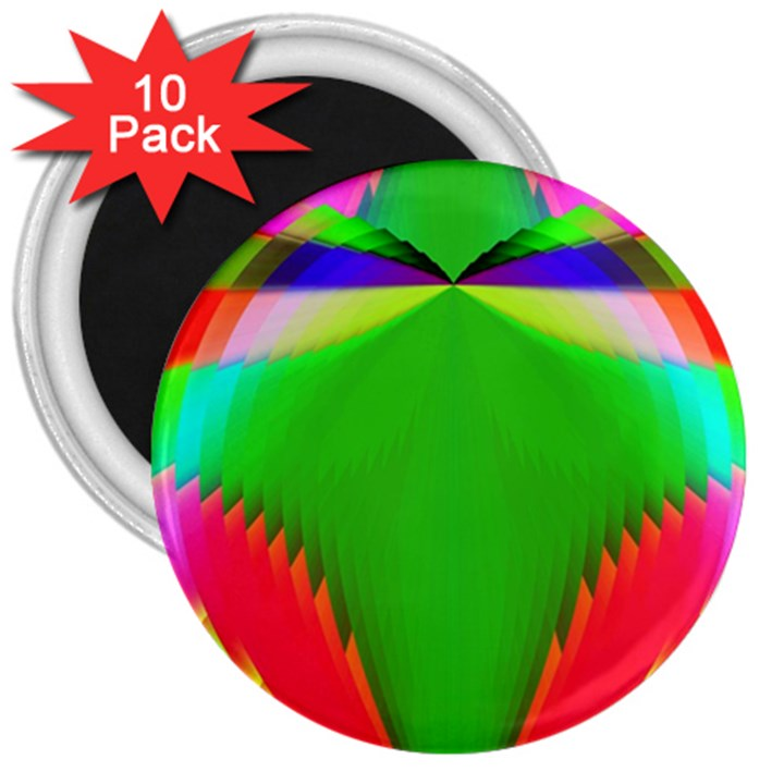Colorful Abstract Butterfly With Flower  3  Magnets (10 pack)