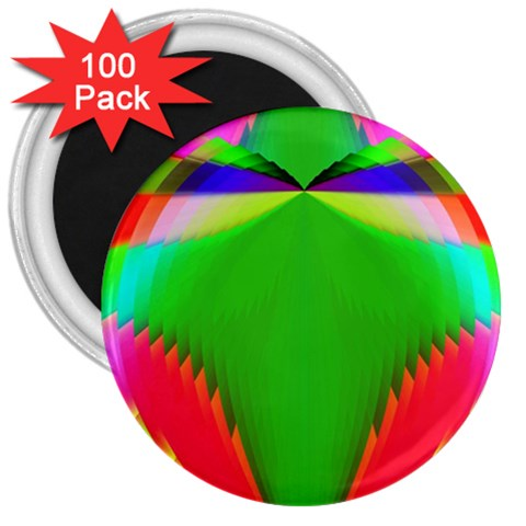 Colorful Abstract Butterfly With Flower  3  Magnets (100 pack)