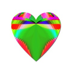 Colorful Abstract Butterfly With Flower  Heart Magnet