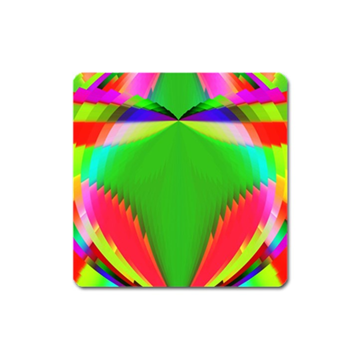Colorful Abstract Butterfly With Flower  Square Magnet