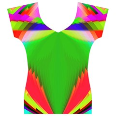 Colorful Abstract Butterfly With Flower  Women s V-Neck Cap Sleeve Top