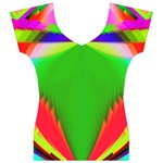 Colorful Abstract Butterfly With Flower  Women s V-Neck Cap Sleeve Top Front