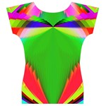 Colorful Abstract Butterfly With Flower  Women s V-Neck Cap Sleeve Top Back