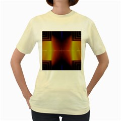 Abstract Painting Women s Yellow T-Shirt