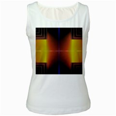 Abstract Painting Women s White Tank Top