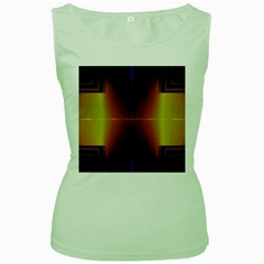 Abstract Painting Women s Green Tank Top