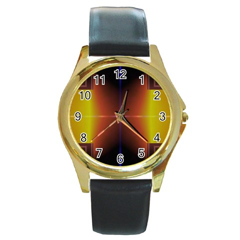 Abstract Painting Round Gold Metal Watch