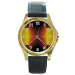Abstract Painting Round Gold Metal Watch Front