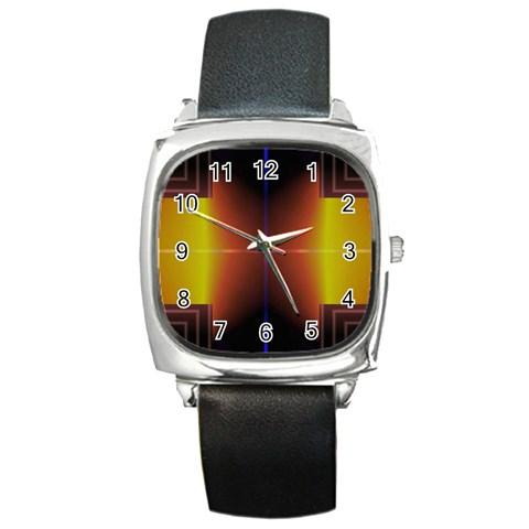 Abstract Painting Square Metal Watch