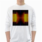 Abstract Painting White Long Sleeve T-Shirts Front