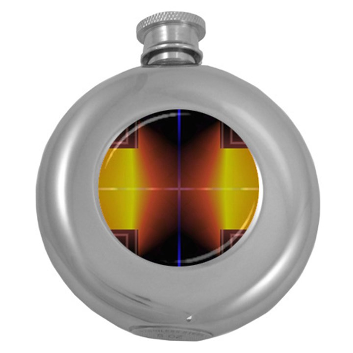 Abstract Painting Round Hip Flask (5 oz)