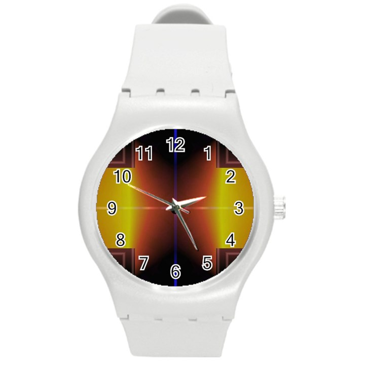 Abstract Painting Round Plastic Sport Watch (M)