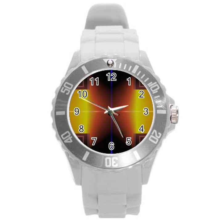 Abstract Painting Round Plastic Sport Watch (L)