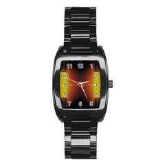 Abstract Painting Stainless Steel Barrel Watch