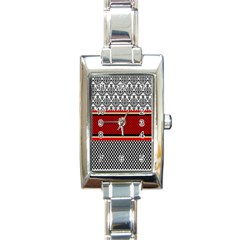 Background Damask Red Black Rectangle Italian Charm Watch