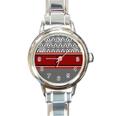 Background Damask Red Black Round Italian Charm Watch