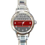 Background Damask Red Black Round Italian Charm Watch Front