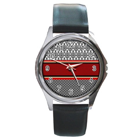 Background Damask Red Black Round Metal Watch