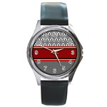 Background Damask Red Black Round Metal Watch Front