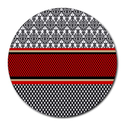 Background Damask Red Black Round Mousepads
