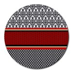 Background Damask Red Black Round Mousepads Front
