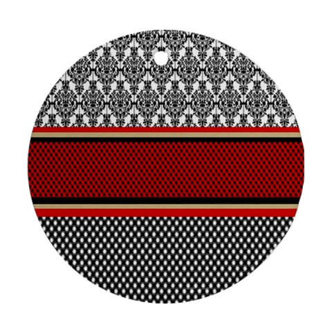 Background Damask Red Black Ornament (Round)