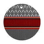 Background Damask Red Black Ornament (Round)  Front