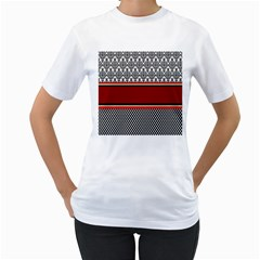 Background Damask Red Black Women s T-Shirt (White) (Two Sided)