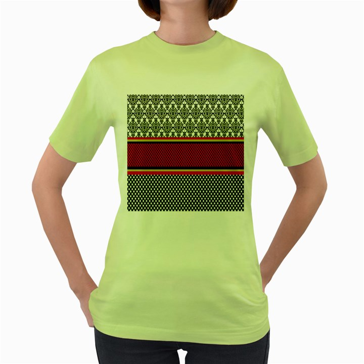 Background Damask Red Black Women s Green T-Shirt